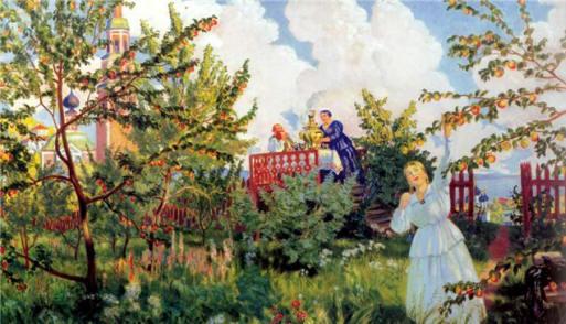 Б. Кустодиев. Яблоневый сад. Яблочная викторина к Яблочному Спасу